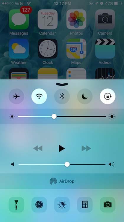 El centro de control de iOS9