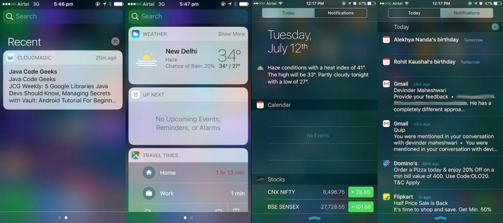 Comparación entre el centro de notificaciones de iOS10 y el de iOS9, con ambas vistas