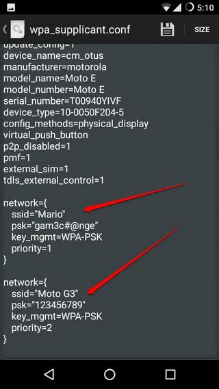 Ver archivo de texto que contiene las contraseñas WiFi