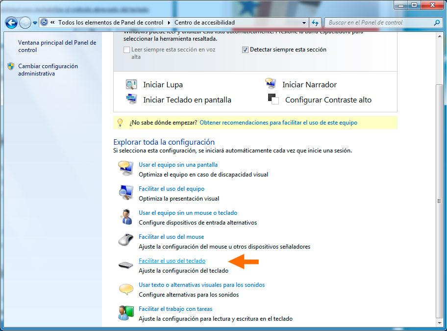 Como desactivar los atajos del teclado windows 7