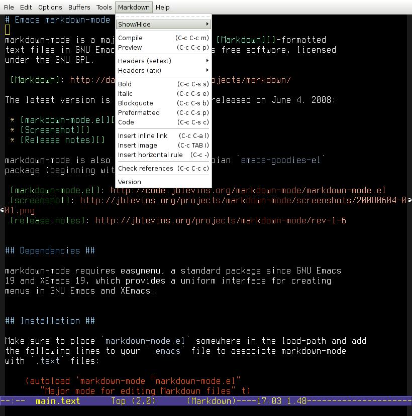 editores de markdown GNU Emacs