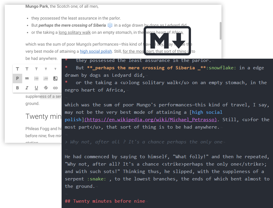 markdown Uncolored editors
