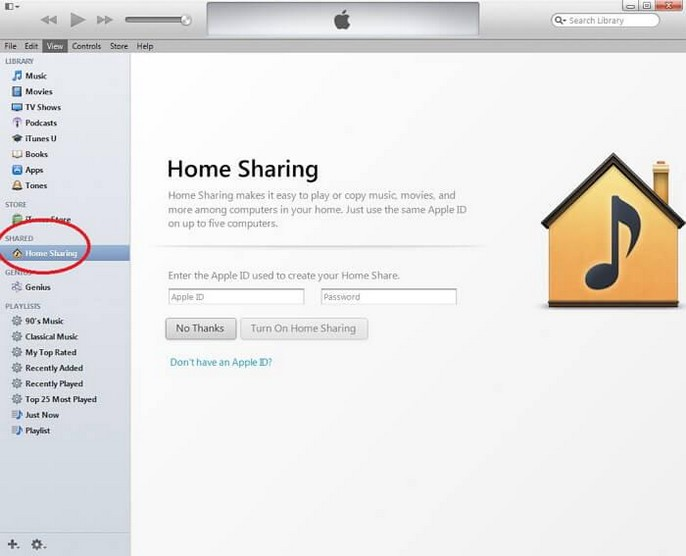 itunes home sharing 0