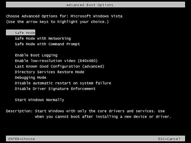 como iniciar windows vista modo seguro 2