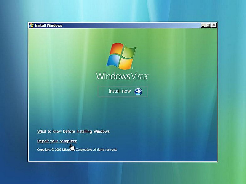 como reparar inicio windows vista 4